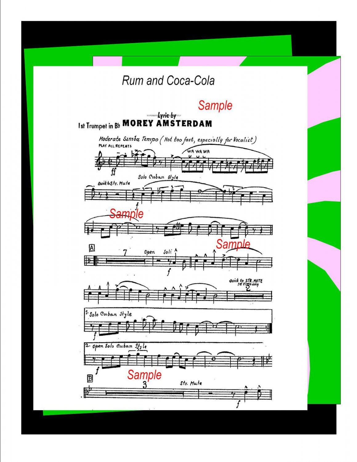 Big Band Music Chart Arrangement Rum and Coca-Cola - PDF