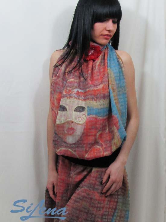 Scarf shawl original art print 97 x 135 cm SiLena FREE SHIPING WORLDWIDE