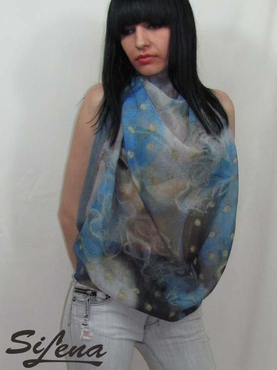 Scarf shawl original art print 85 x 115 cm SiLena FREE SHIPING WORLDWIDE