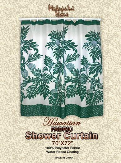Hawaiian Tropical Fabric Shower Curtain (Breadfruit)