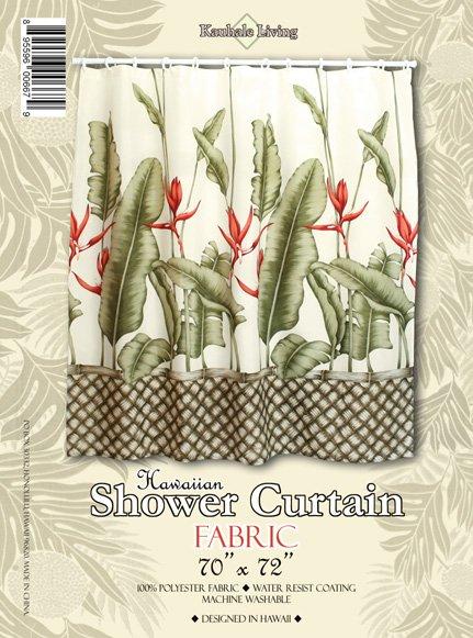 Hawaiian Tropical Fabric Shower Curtain (Heliconia)