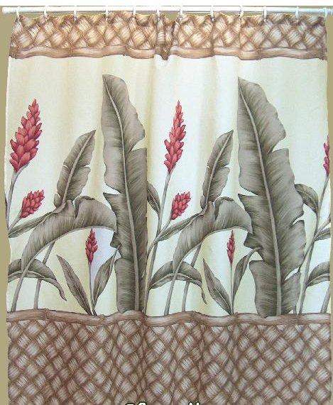 Hawaiian Tropical Fabric Shower Curtain (Ginger Flower)