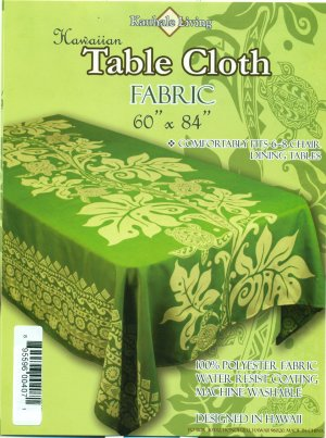 Hawaiian Tropical Fabric Tablecloth 60-inch By 84-inch (Honu Turtle and Monstera, Green color)