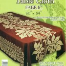 Hawaiian Tropical Fabric Tablecloth 60-inch By 84-inch (Honu Turtle and Monstera, Brown color)