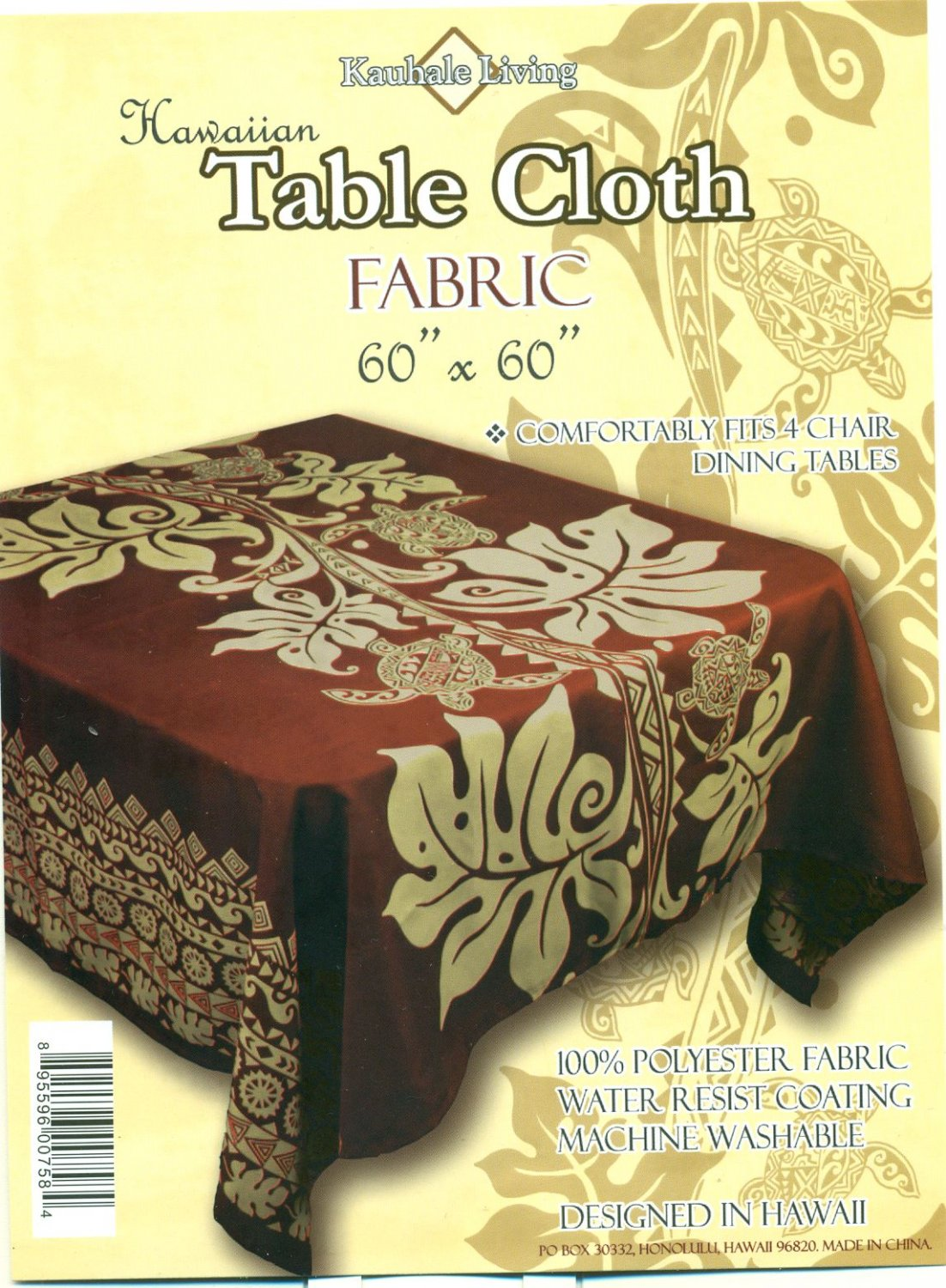 Hawaiian Tropical Fabric Tablecloth 60-inch By 60-inch (Honu Turtle and Monstera, Brown color)