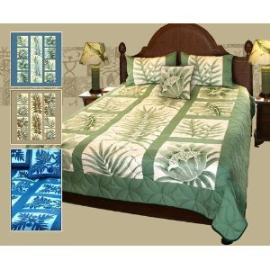 King Size Hawaiian Patchwork Quilt Comforter Set with 2 Pillow Shams (Blue color )