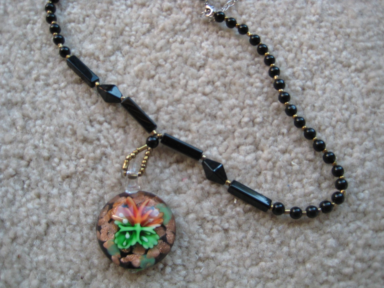 Tropical flower Lampwork Glass Pendant Necklace B