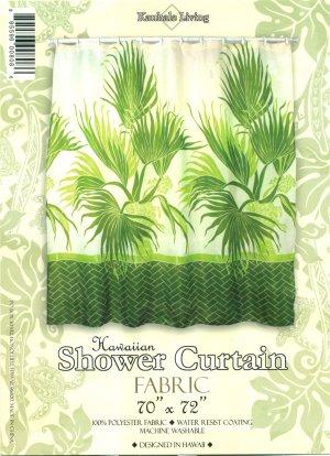 Hawaiian Tropical Fabric Shower Curtain (Fan Palm)