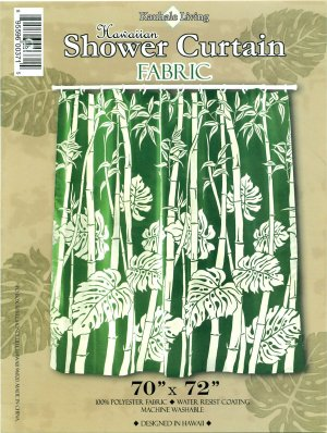Hawaiian Tropical Fabric Shower Curtain (Sage Bamboo)
