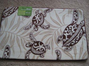 "Hawaiian Memory Foam Mat (Honu Turtle Under Seaweed) size 32x20"""
