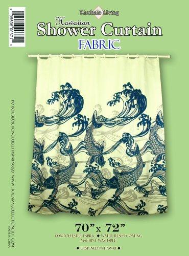 Hawaiian Tropical Fabric Shower Curtain ( Koi, Janpanese fish, Navy Blue)
