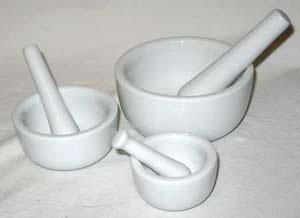 Set of 3 White Ceramic Mortars and Pestles - LMOR3