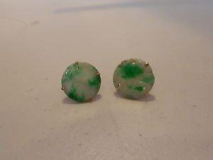 Old jade carved stud earrings 14kt gold