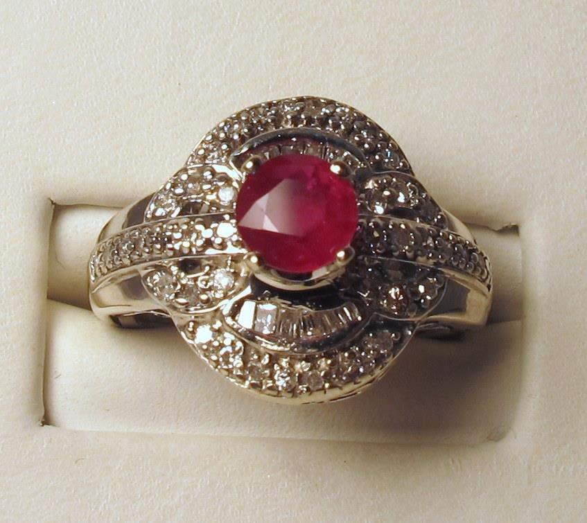 Diamonds 0.50ct Ruby Gemstone 6mm 14K White Gold Ring