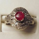 Diamonds 0.50ct Ruby Gemstone 6mm 14K White Gold Ring
