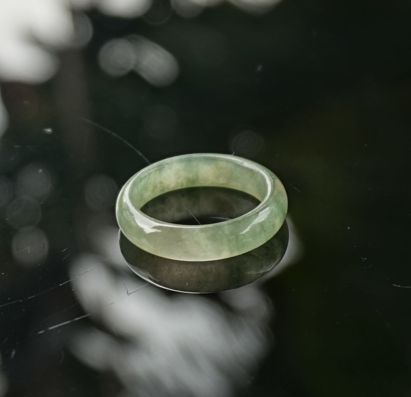100% Real Natural Untreated Translucent Light Green Jadeite Jade Thin Ring 7