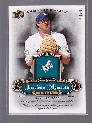 RARE =  2009 Piece of History Timeless Moments Derek Lowe  #94/99       *stk0166