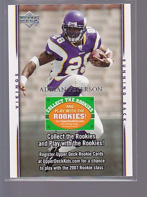 2007 Upper Deck Collect The Rookies Adrian Peterson      _________  (STKft 88)