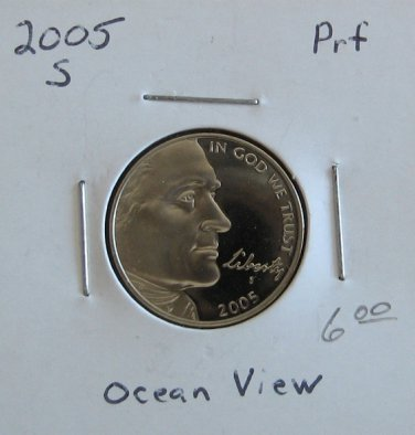 2005-S Proof Jefferson Nickel Ocean View, #2969