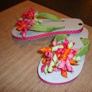 Pink/ green/orange/fushia  embellished flip flops