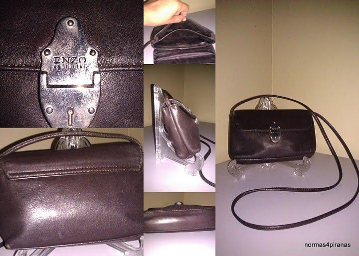 Enzo Angiolini dark brown leather crossbody bag