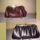 Reversible Faux Leather Clutch Bag/red wine and black