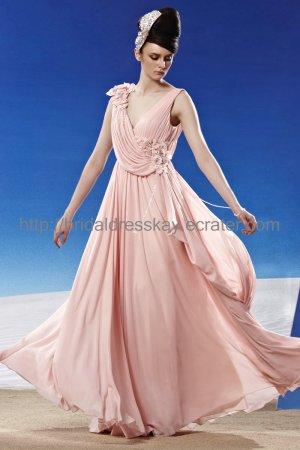 V-neck v-back Pink Evening Dress Prom Dress 2012