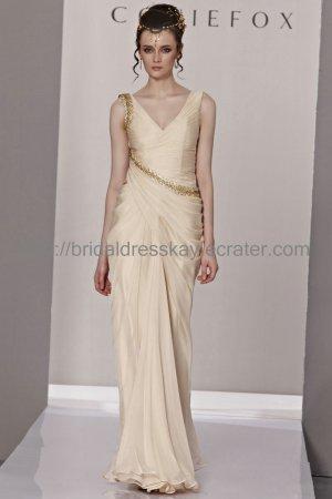 Elegant V-neck Light Yellow Evening Dress 2012