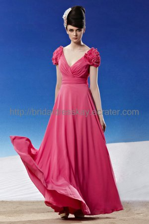 Sexy V-neck Hot Pink Evening Dress 2012 Prom dress