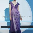 V-neck Cap Sleeve Purple Evening Dress Mother Dress