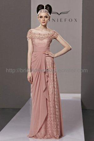 Off shoulder Pink Evening Dress Lace Prom Dress