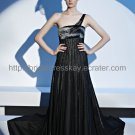 One shoulder Black Evening Dress Sexy Mother Dress