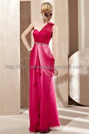One Shoulder Hot Pink Prom Dress Evening Dress 2012