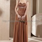 Coffee Beaded Sexy Evening Party Dress 2012