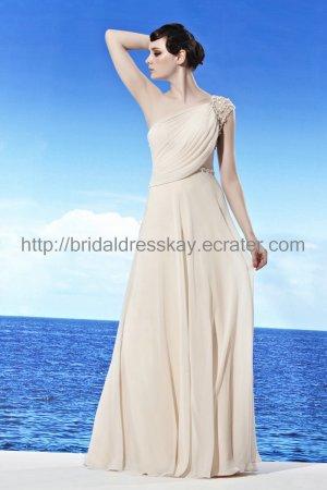 One shoulder White Beach Wedding Dress Formal Evening Dress