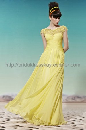Cap Sleeve Yellow Evening Party Dress 2012