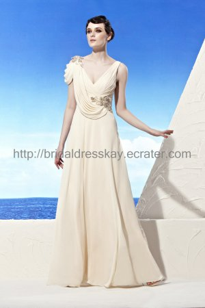 Unique V-neck Ivory Evening Dress