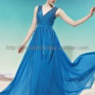 V-neck Blue Beaded Evening Dress