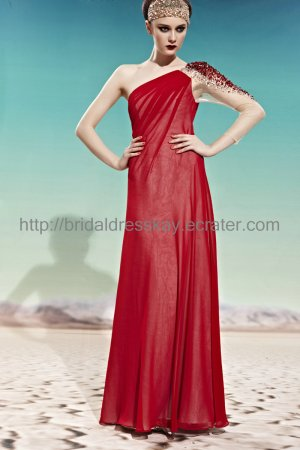 Sexy One Sleeve Red Evening Party Dress