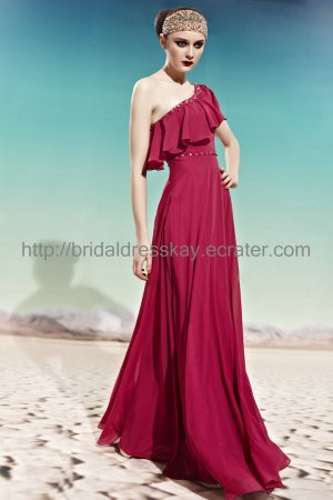 One Shoulder Red Evening Party Dress Prom Dress