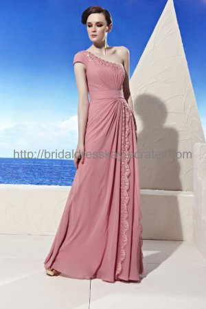 One shoulder Pink Evening Party Dress