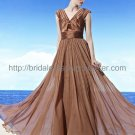 V-neck Coffee Evening Gown