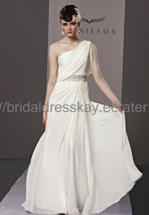 One Shoulder Ivory Wedding Dress Evening Party Dress