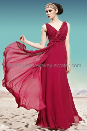 V-neck Red Bridal Party Dress