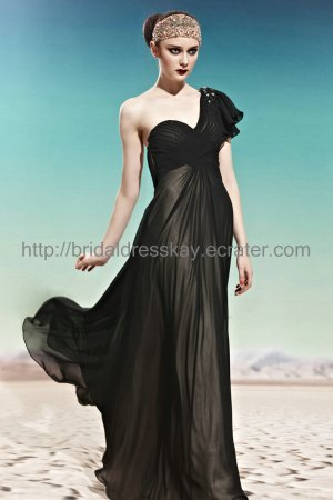 One Shoulder Black Evening Dress 2012