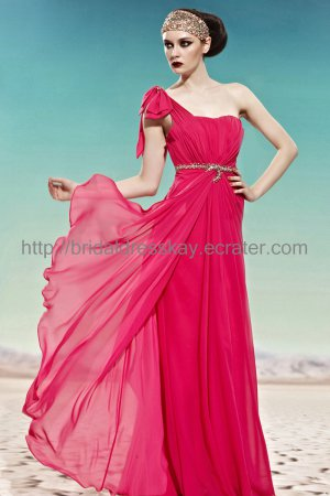 Simple One shoulder Red Evening Dress