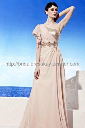 Elegant One shoulder Pink Evening Party Dress Celebrity Dress
