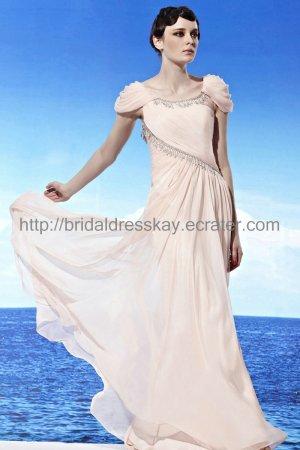 Pink Prom Dress Cap Sleeve Evening Dress