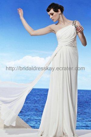 White Wedding Dress One Shoulder Beach Bridal Dress