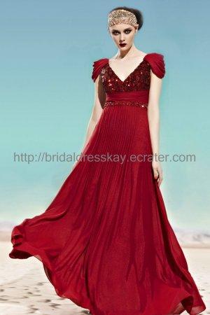 Elegant V-neck Red Evening Dress